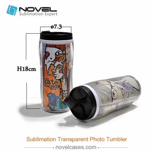 DIY sublimation custom design Transparent Photo Tumbler