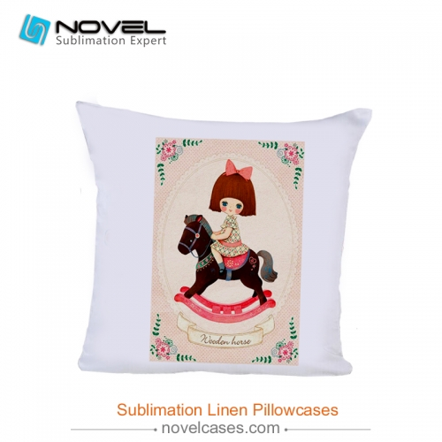 Hot sale Sublimation linen pillow case, polyester peach skin