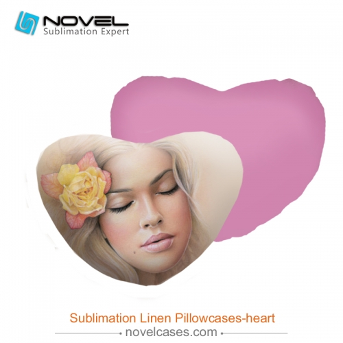 DIY Sublimation Blank linen pillow case, heart-shaped cover