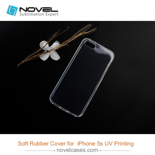 Personized uv print Transparent soft rubber phone case for iphone 5