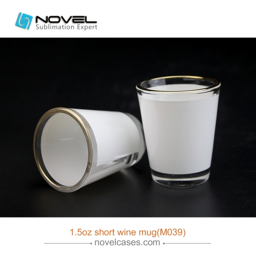 1.5 OZ Shot Wine Glass Cup With Golden Rim for Sublimation Printing