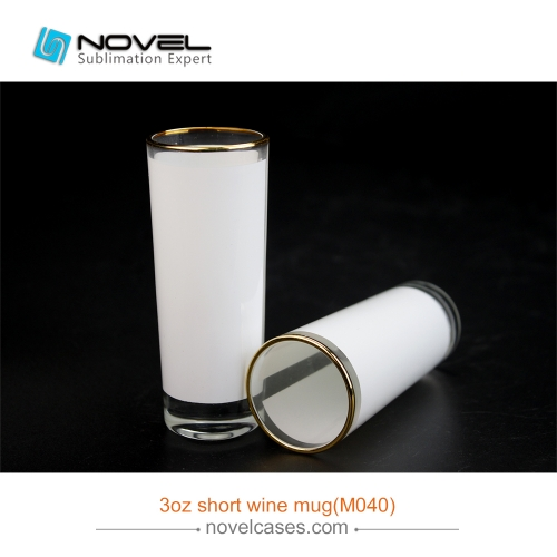 3.0 OZ Shot Wine Glass Cup With Golden Rim, Short  Wine Mug