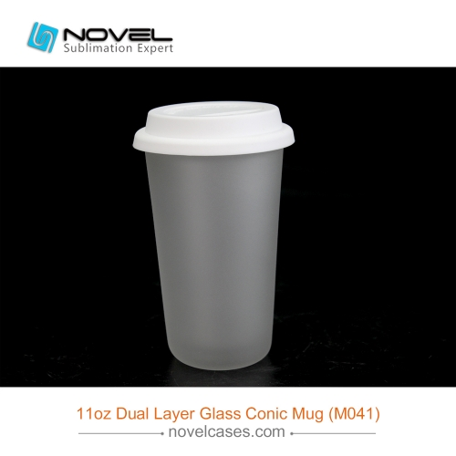 11oz Sublimation Dual Layer Glass Conic Mug,Glass With Silicon Cover