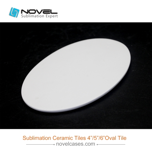 "Oval Shaped Sublimation White Ceramic Tile,4""/5""/6"" Available"