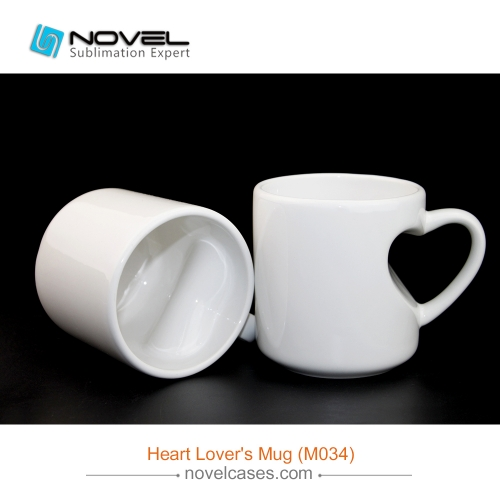 Sublimation Blank Heart Shape Handled White Mug