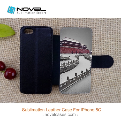 For iPhone 5C Popular Phone Wallet Sublimation Blank PU Leather Case