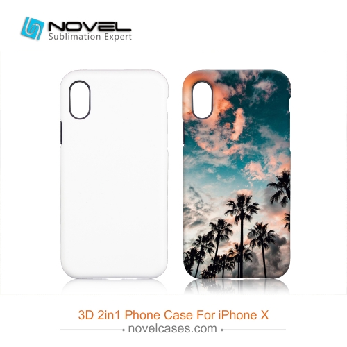 For iPhone X Popular Sublimation 3D 2IN1 Phone Back Cover