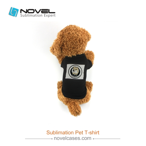 New Sublimation Black Printable Pet T-Shirt With Heart/Rectangle Shape