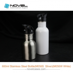 600ml DIY Sublimation Stainless Steel Sport Water Bottle With Straw Top