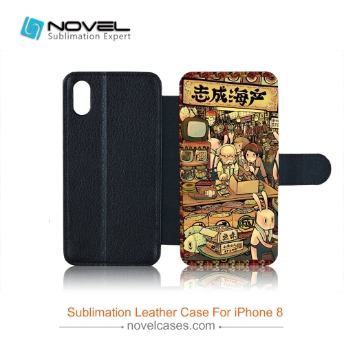 For iPhone XS/iPhone X Sublimation Blank PU Leather Flip Phone Case