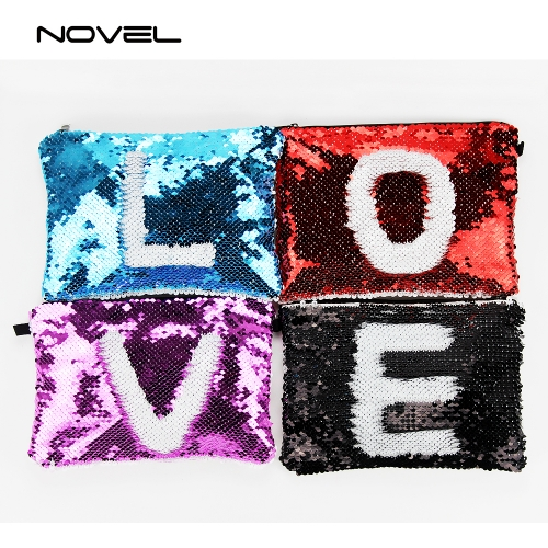 Fashion Magic Sequin Reversible Cosmetic Bag Sublimation Blank Pencil Case Pouch, 23cmx16cm