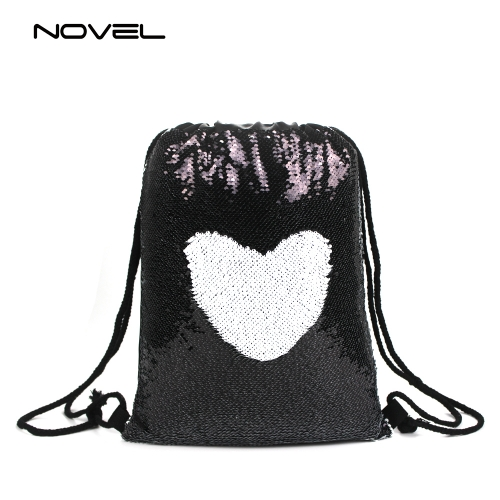 Sublimation Magic Sequin Drawstring Backpack Glitter Sport Bag