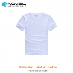 Sublimation Blank Milk Silk Polyester T-shirt for Children