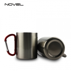 300ml Stainless Steel Sublimation Cup Mug With Red Carabiner Handle