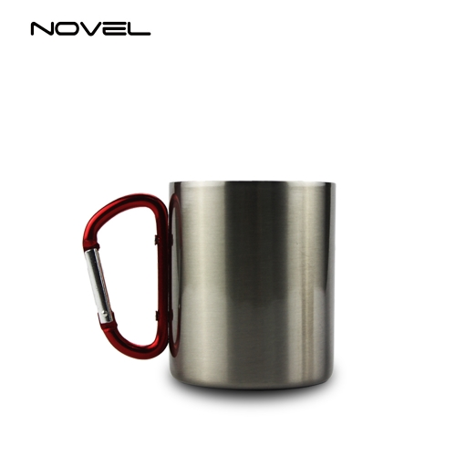 300ml Stainless Steel Sublimation Mug With Red Carabiner Handle