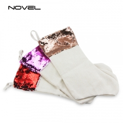 Sequin Christmas Stocking Sublimation Xmas Socks