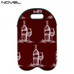 Custom White Neoprene Sublimation Double Wine Bottle Bag