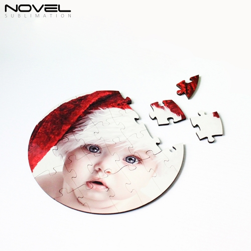 NSPZ-008 Personalized Round MDF Puzzle 24p