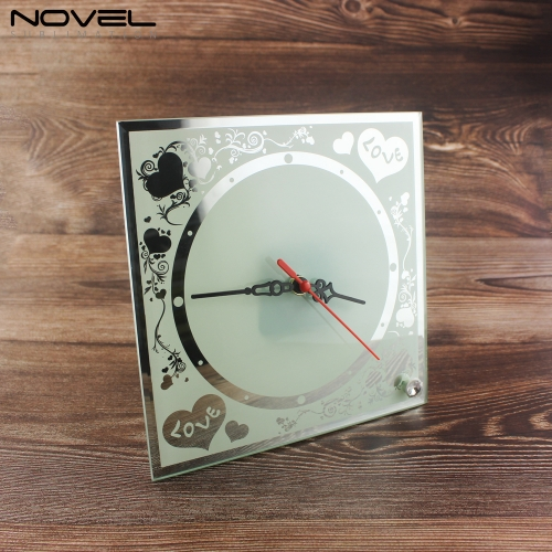 Square Clock Photo Frame Sublimation Printing Glass Panel
