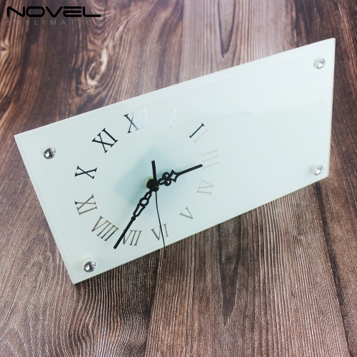 "12"" Rectangle Smooth Glass Clock Photo Panel"