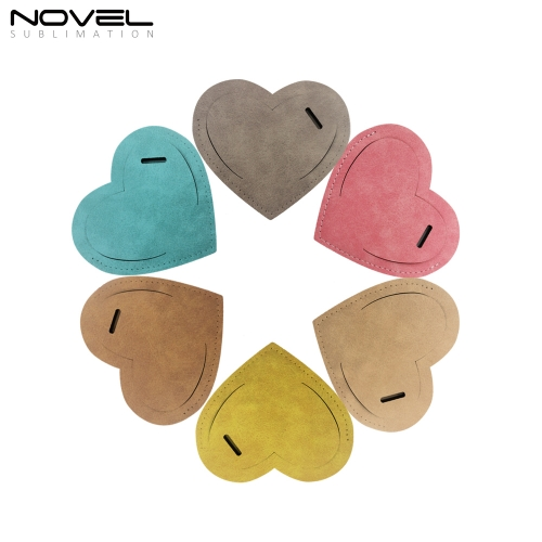 Heart Color Luggage Tag Sublimation Printing PU Leather Luggage Tag Holder #2
