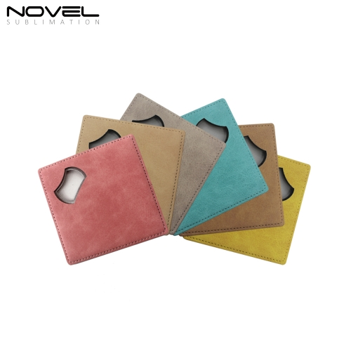 Double Sided Printable Colorful Square Coaster Bottle Opener #3