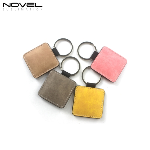 Double Side Printable Colorful PU Keychain Square