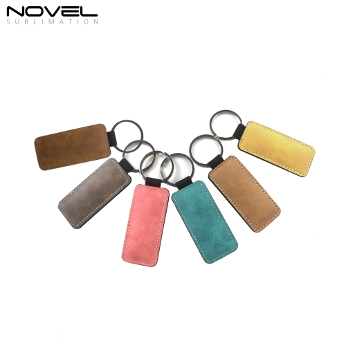 Sublimation PU Keychain Rectangle Color Key Tag