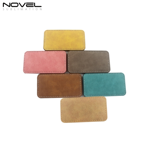 Rectangle PU Leather Badge Sublimation Color Badges