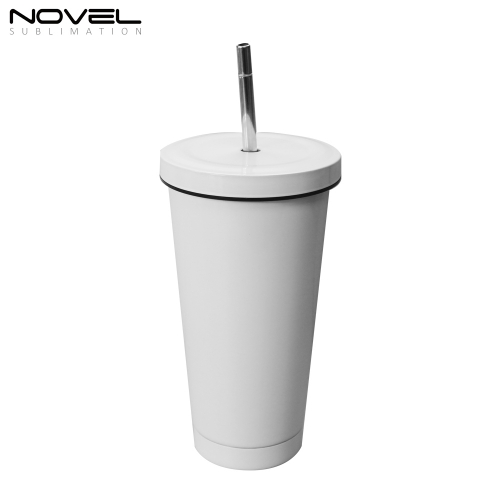 500ml Conical Straw Thermos Cup Stainless Steel Mug