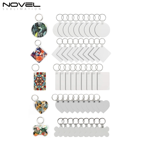Promotion Gifts MDF Keychains Sublimation MDF Key ring 5 Shapes Sublimation Blank Keychain 100pcs/lot