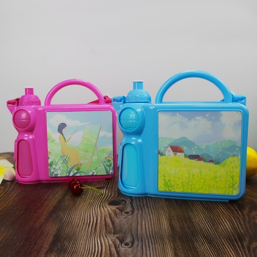 Polymer Kid Lunch Box and Water Bottle Set for Heat Pressing Sublimation Children Lunch Box Set